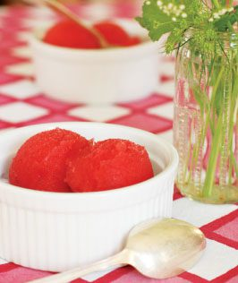 strawberry-prosecco sorbet