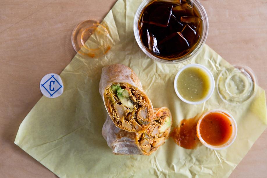 A breakfast burrito and cold-brew at Cofax,