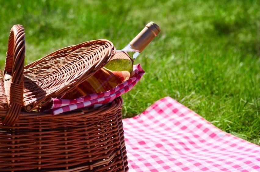 Picnic basket with wine bottle