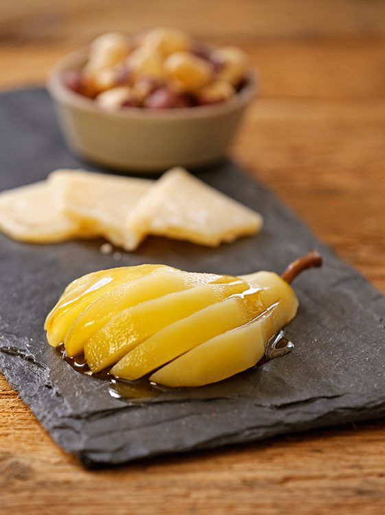 beer poached pears
