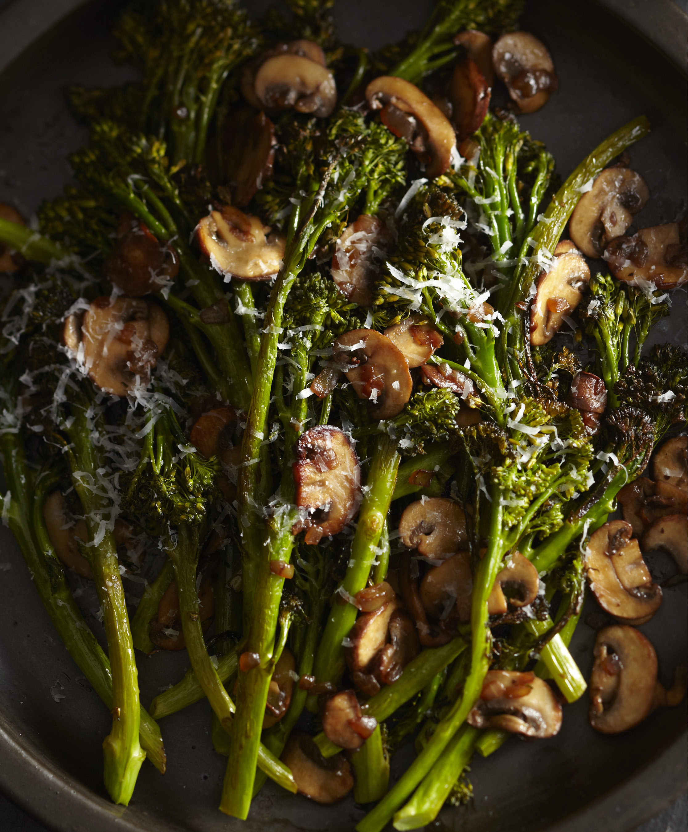 Roasted-Broccolini-with-Winey-Mushrooms. | Photo by Sang An.