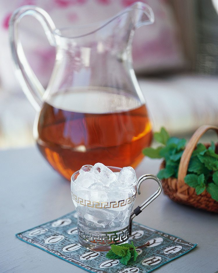 Mint syrup makes this pitcher of Mint Juleps  super easy to make. | Photo by Robert M. Peacock.
