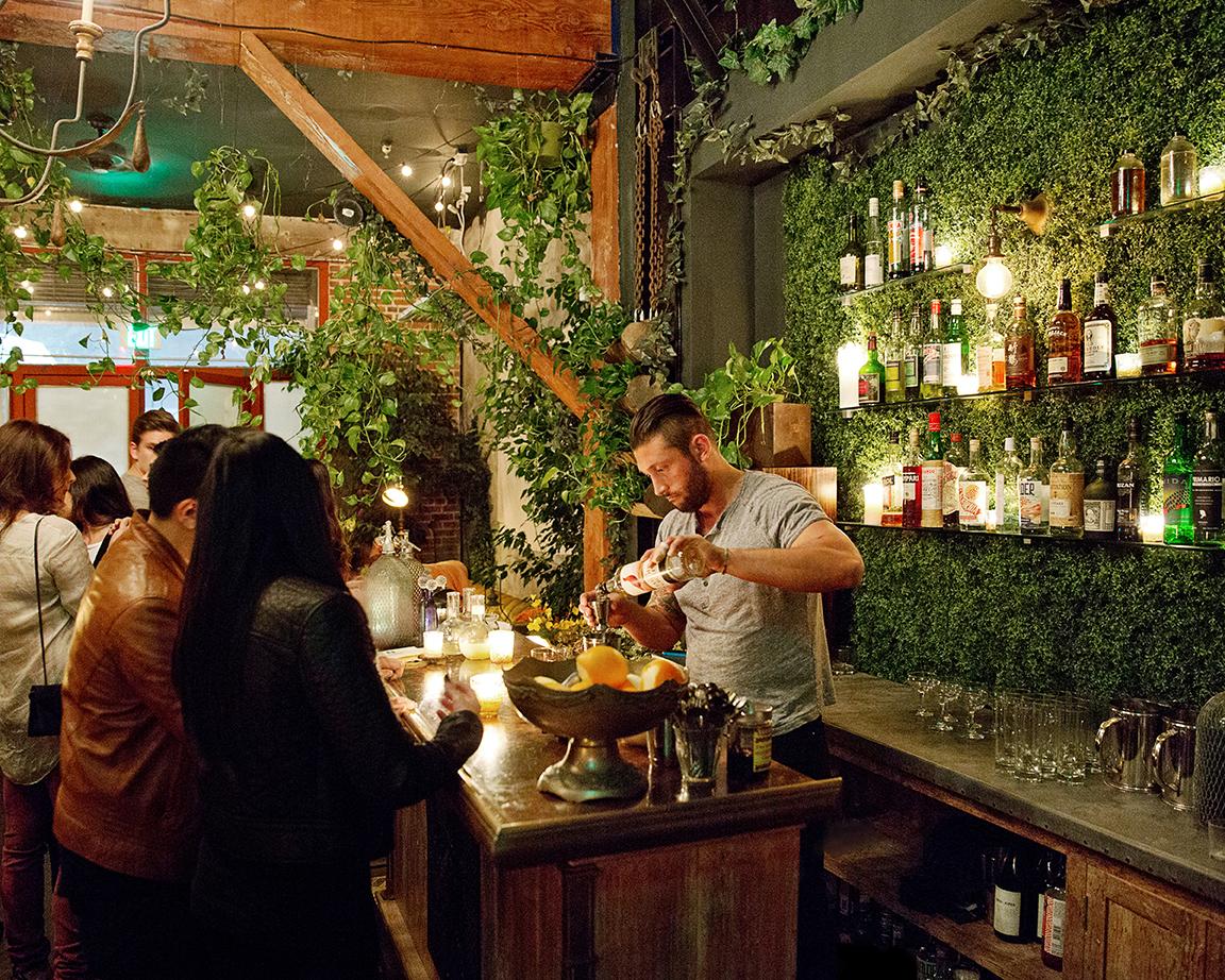 The lush back bar at Apt. A.