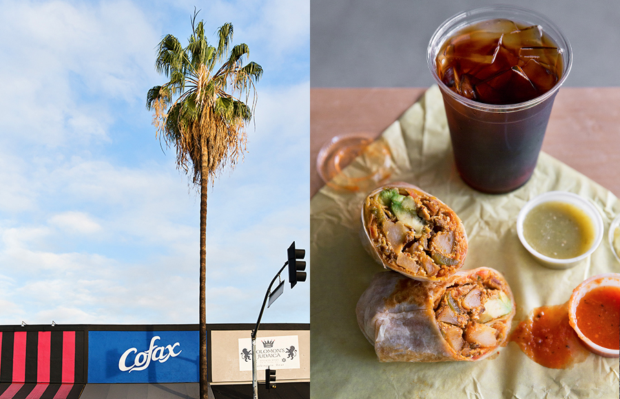 An ideal afternoon on Fairfax is a smoked potato breakfast burrito and a cold-brew at Cofax.