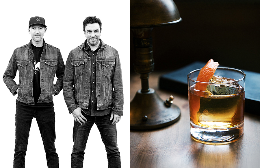 Steve Livigni and Raul Yrastorza. Classy cocktails made by classy gentlemen in matching denim jackets.