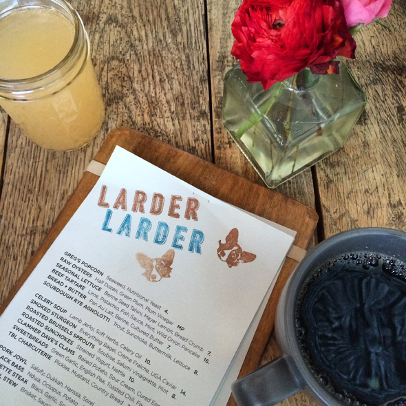 Brunch at Two Burroughs Larder, including coffee and Peach Bellinis.