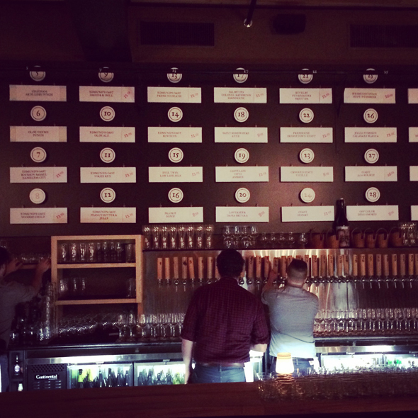 Just a portion of the huge tap selection along the back bar of Edmund's Oast, our 2015 Beer Bar of the Year.
