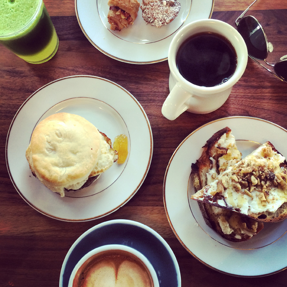 Breakfast at the Daily, where you can get Stumptown coffee, fresh juices and amazing pastries, toasts and breakfast biscuits.
