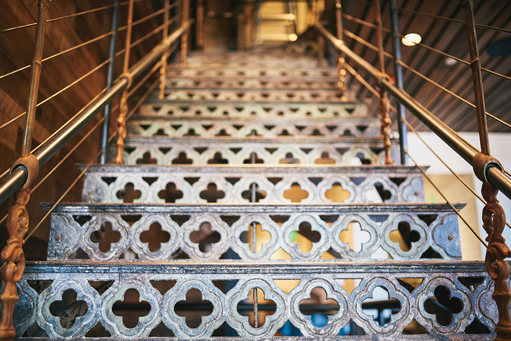 This historic cast iron staircase was incorporated into the new design to provide access to the brewing operations.