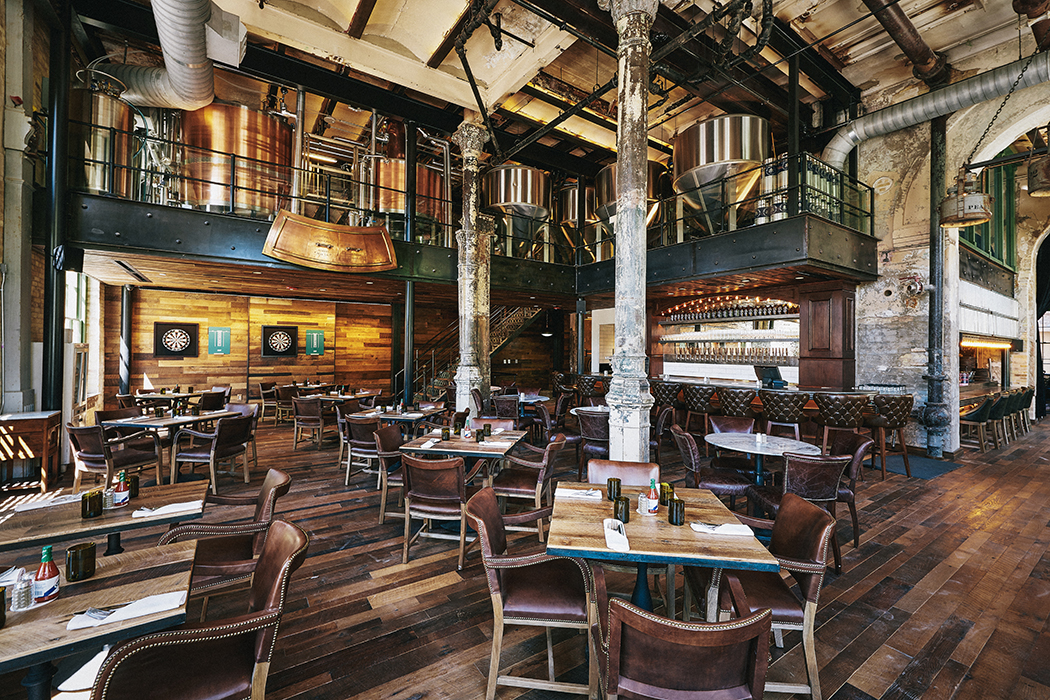 The interior design at Southerleigh Fine Food and Brewery takes inspiration from the historic building.