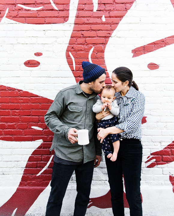 Bestia's Executive Chef Ori Menashe and Pastry Chef Genevieve Gergis grab coffee downtown at Stumptown with their adorable daughter in tow.