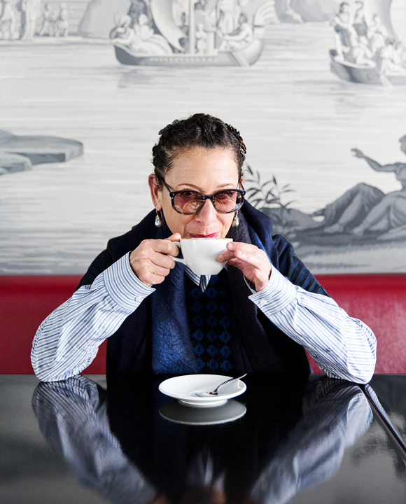 Famed chef Nancy Silverton of Osteria Mozza settles into Silver Lake's LA MILL café with a cappuccino.