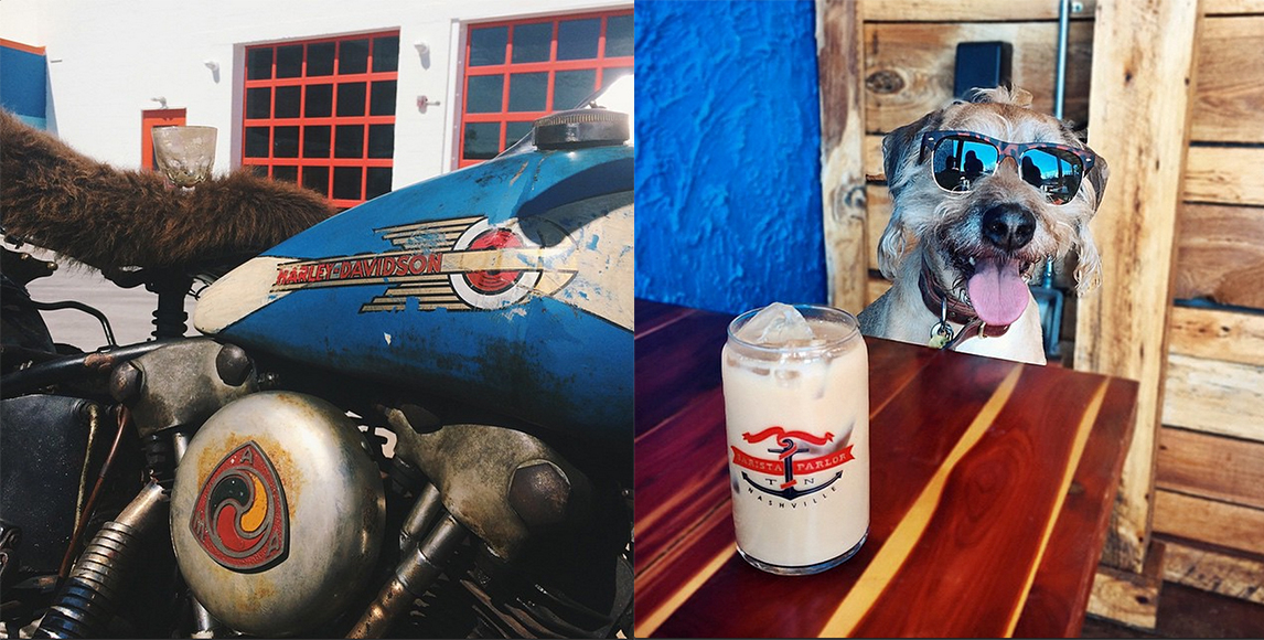 Located in an old transmission shop in Nashville, Barista Parlor pits colorful food and drink images with gritty industrial shots of cars and bikes as a nod to the building's history. It's a vibrant and eclectic feed. Follow them @baristaparlor.
