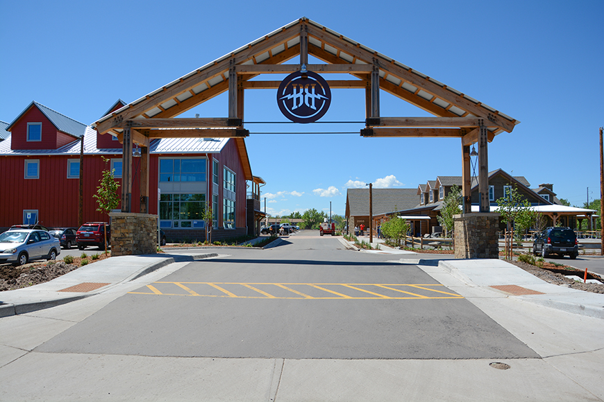 Every aspect of the new Breckenridge Brewery design evokes a rustic, rural farm scheme.