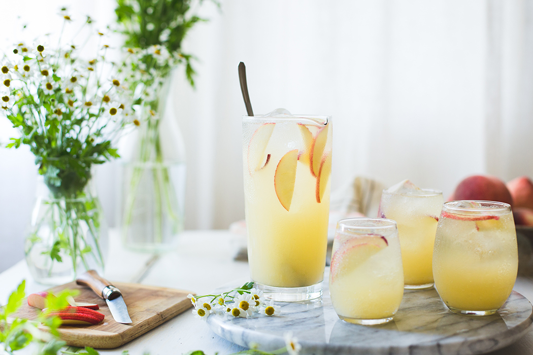 Elderflower liqueur brings a floral note to this sparkling wine-based White Nectarine Sangria. | Photo by Alanna Taylor Tobin.