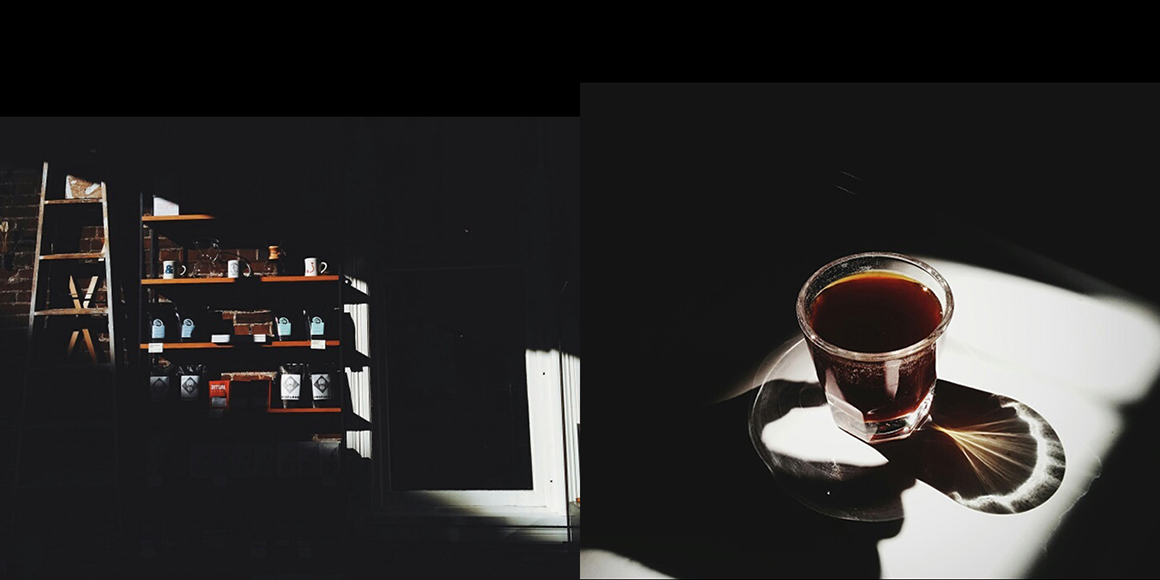 Moody chiaroscuro lighting makes Revolver Coffee's feed feel very