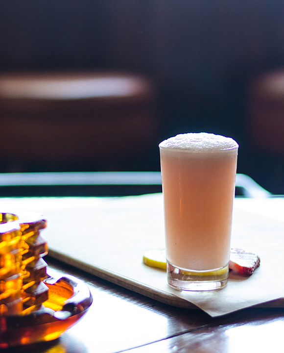 Strawberry-infused aged white rum softens with the addition of vanilla liqueur, egg white, lemon and soda in the Silverback Fizz.  | Photo by Lori Sokolowski.