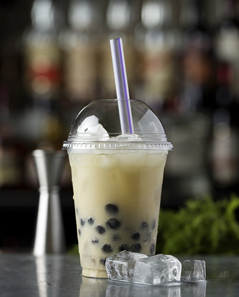 The Dill cocktail blends a number of cultures with dill-infused blanco tequila, matcha syrup, Mexican horchata and tapioca pearls.
