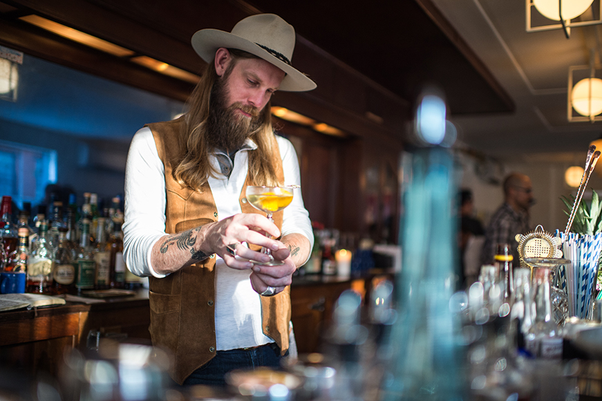 Damon Boelte, formerly of Prime Meats, infuses Grand Army's cocktail program with drinks rooted in classics but elevated with playful twists.