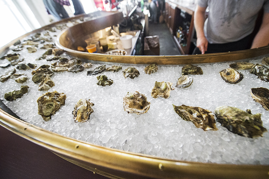 It wouldn't be a good oyster bar without a galley for the chilled bivalves.