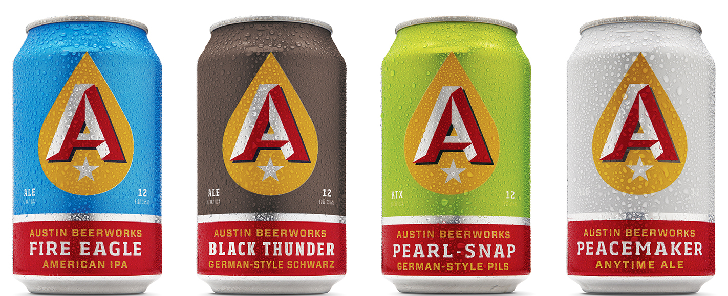 In designing the branding for Austin Beerworks, Helms Workshop made sure to eschew any traditional brewing imagery in favor of clean, bold design.