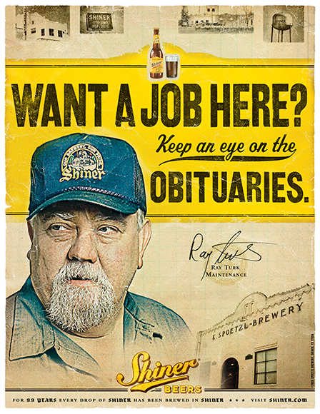 Shiner Beer showcases their workplace desirability with this poster designed by McGarrah Jessee.