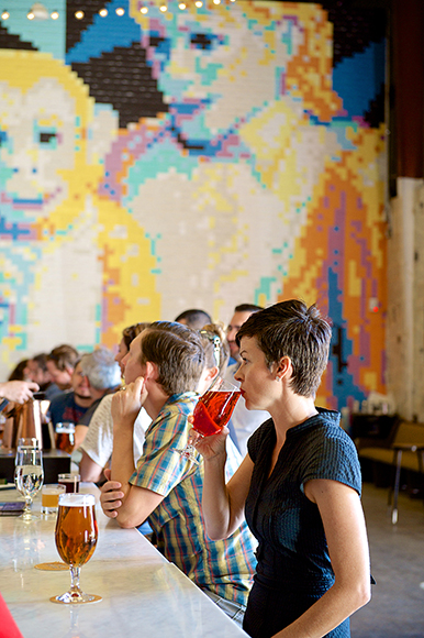 One of the walls of the taproom features a mural of Michael Jackson and his pet chimp, Bubbles, crafted from nearly 11,000 Post-It notes.