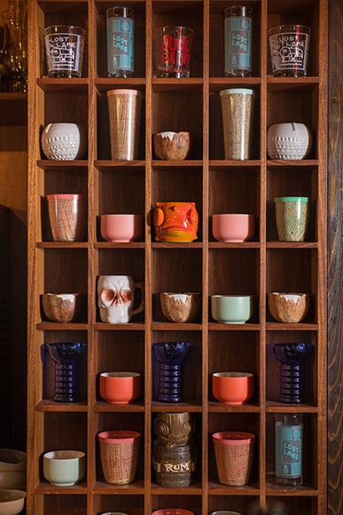 A peek at the bar's eclectic drinkware collection.