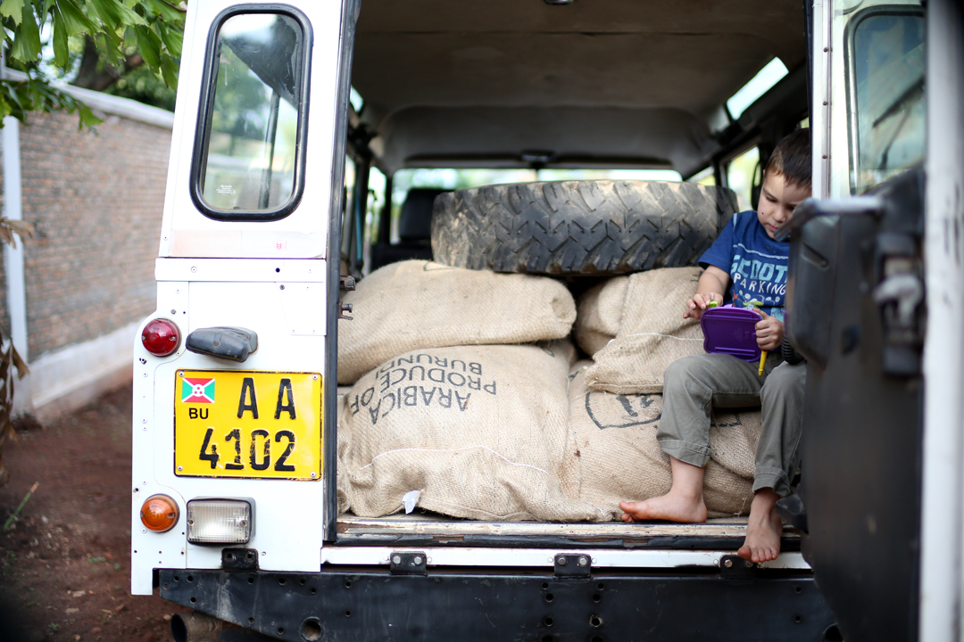 An old Land Rover full of coffee is even better than a jungle gym.