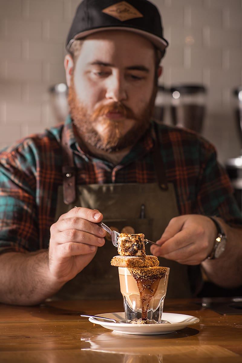 The S'more Gibraltor is a mocha cortado topped with a graham cracker and toasted marshmallow.
