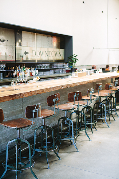 A mix of urban and rustic details create a beautiful contrast at Bar Agricole in San Francisco. | Photo by Colin Price