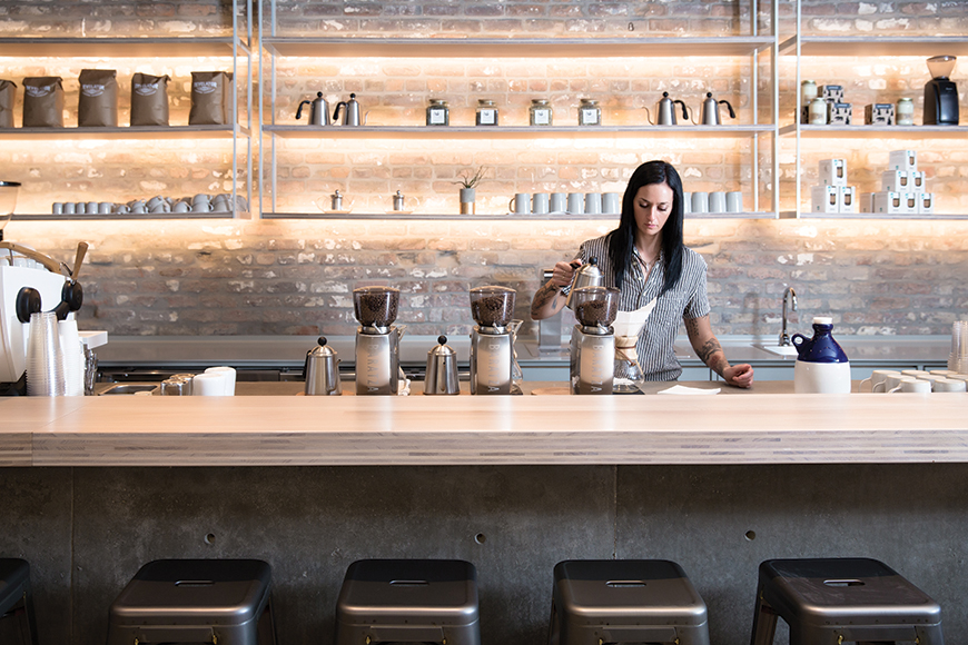 Revelator Coffee in New Orleans bears a striking minimal, modern design. | Photo by Hunter Holder