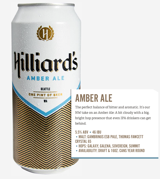 Hilliard's Beer in Seattle worked with Mint Design to create these clean can labels. Operations manager Aleko Lilly says the brewery wanted a timeless look that would evoke both the modern craft beer movement and the history of beer around the world.