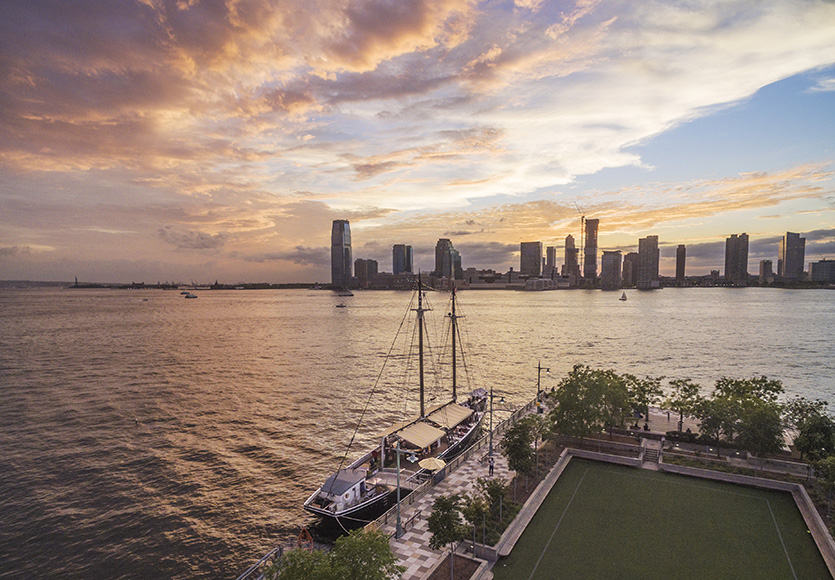 Docked at Pier 25 in Tribeca, Grand Banks is a historic sailing vessel turned cocktail bar.  | Photo by Alan Silverman