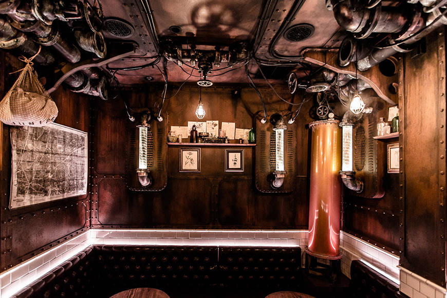 Industrial elements can be found throughout the bar, but are most prominent in the Distillery alcove.