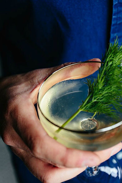 Perfect for pairing with oysters, the 50/50 features blanco tequila, dill-infused Lillet Blanc and fresh dill.
