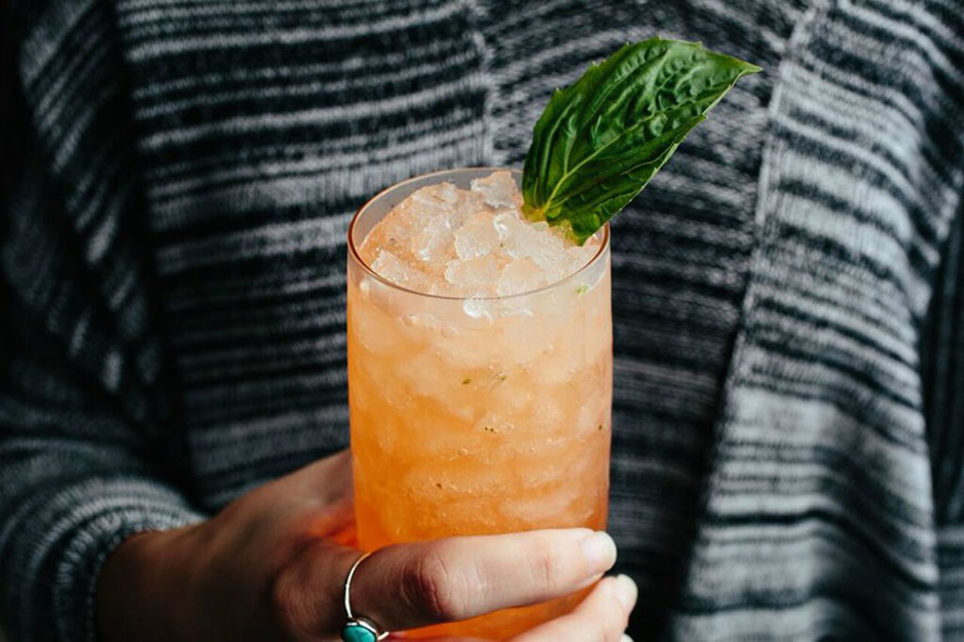 The Basil Daisy features an easygoing mix of vodka, Aperol, lemon and fresh basil.