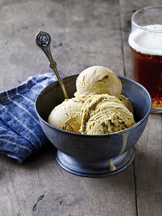 In this recipe for India Pale Ice Cream, hops and Belgian candi syrup create a distinctive IPA flavor. | Photo by Tina Rupp.