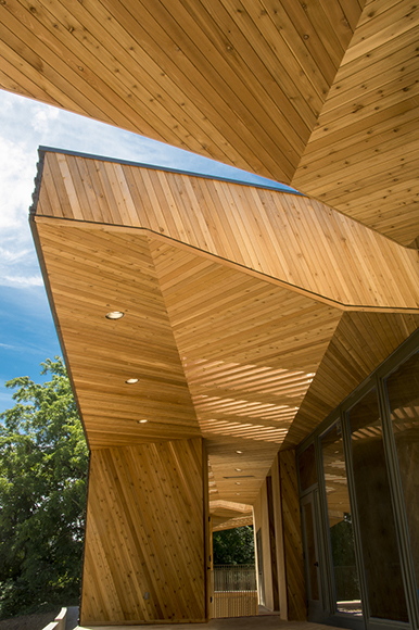 One of the most striking elements of the Sokol Blosser tasting room is the exterior, a large geometric mass made of cedar, fir and hickory.