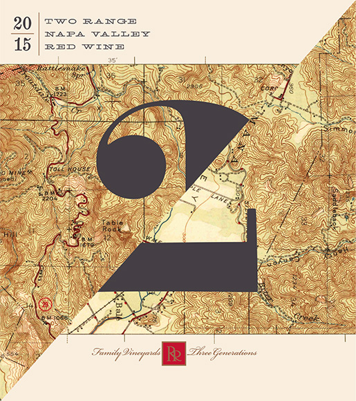 The labels for upcoming Two Range feature vintage topographical maps to honor the spirit of old Napa. Force and Form spliced them together to reference the two mountain ranges that flank the Valley.