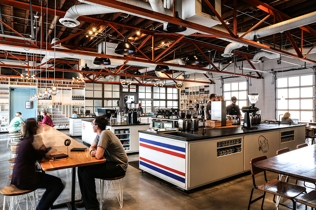 Bright, natural light, simple primary colors and open work spaces for the baristas contribute to Andy Mumma's design concepts for each of his three Barista Parlor locations.