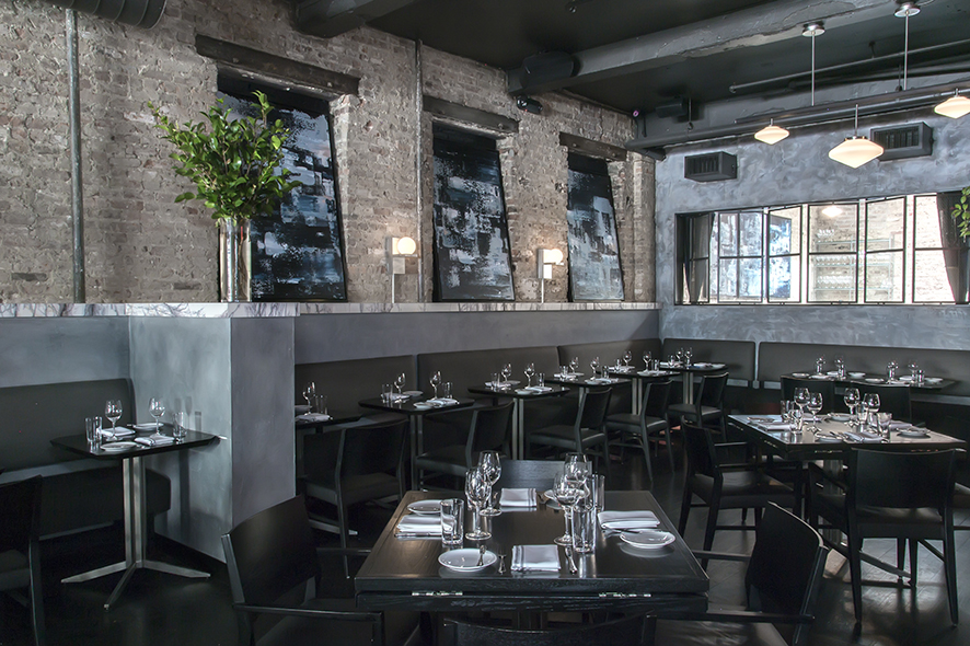 Cool colors, industrial materials and natural light fill the space at Rebelle.