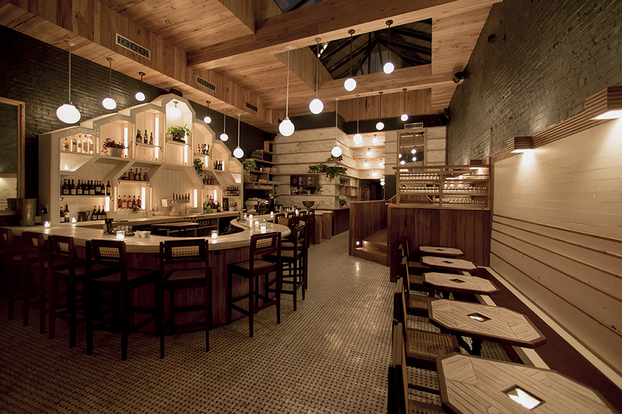 A mix of warm woods, industrial brick and tile converge at Sisters.