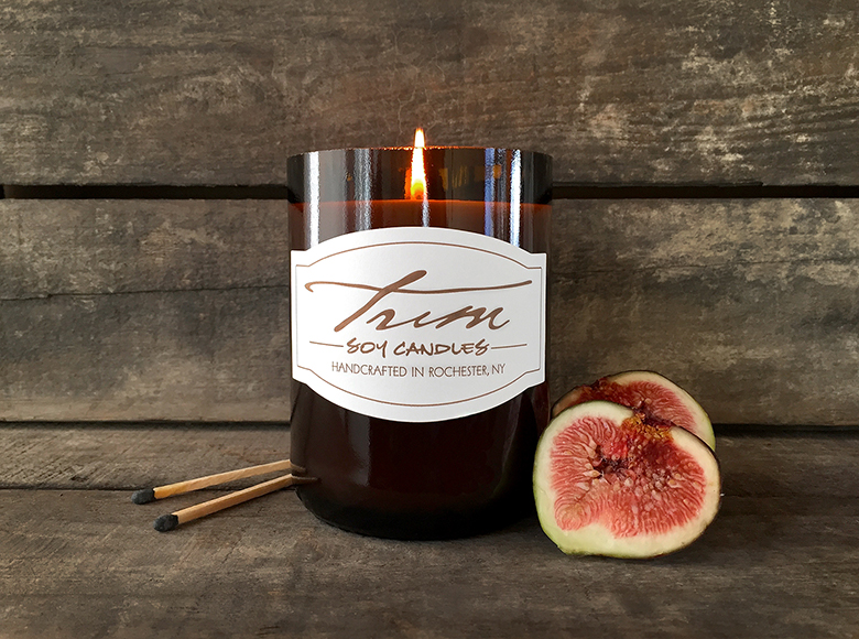 Wine Bottle Soy Candles from Trim, $24
