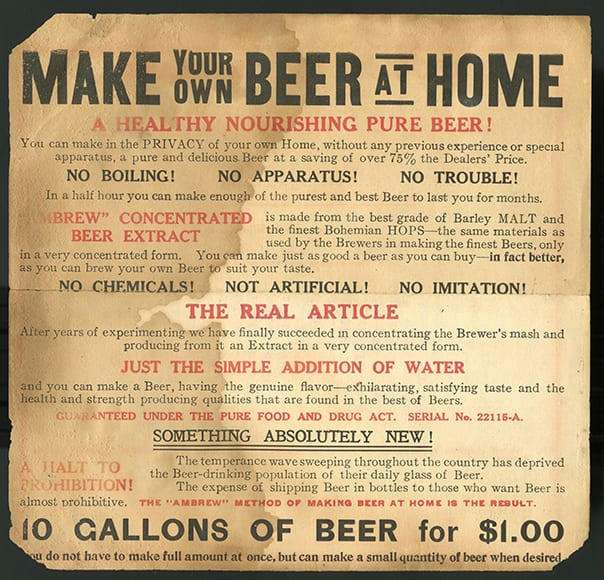 This advertisement for malt extract includes references to temperance and Prohibition. Circa 1900.