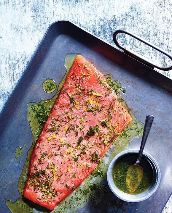 A zippy citrus-dill-vodka marinade brightens the grilled Salmon a la Plancha with Citrus-Dill Vodka Marinade. | Photo by Leigh Beisch.
