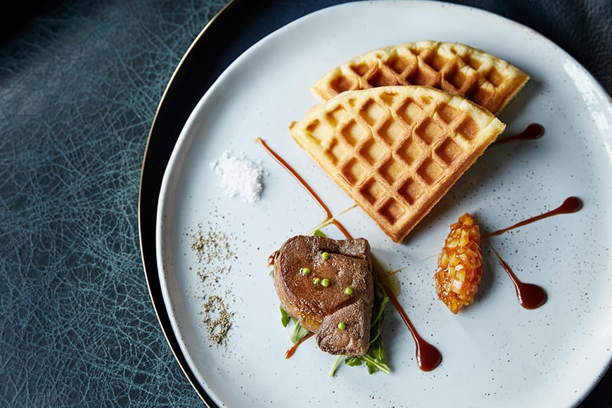 "The ""Foie 'n' Waffle"" combine brioche, espresso, maple and orange compote."