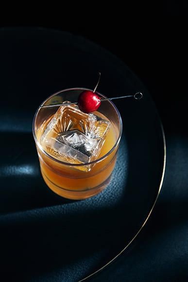 Served with a cherry on top, the Sinatra and Chanel hosts scotch, coco palm, frankincense and sour cherry bitters.