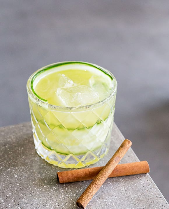 Tequila and cucumber are a natural match, but the In a Flash cocktail takes the pairing in a surprisingly delicious direction with the addition of lemon juice and cinnamon. | Photo by Jim Sullivan, MediumRaw Arts.