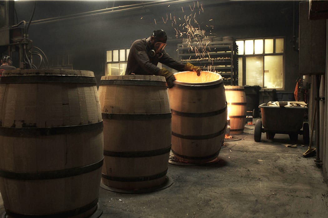 Barrels being toasted at Demptos Napa Cooperage.